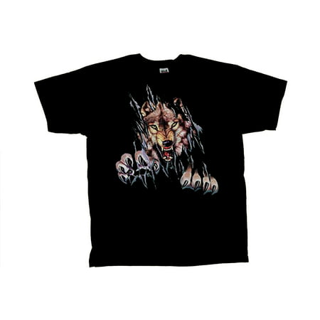 Wolf T-Shirt Rip Out Shred Wolves Tee (Halloween Ripped Shirt)