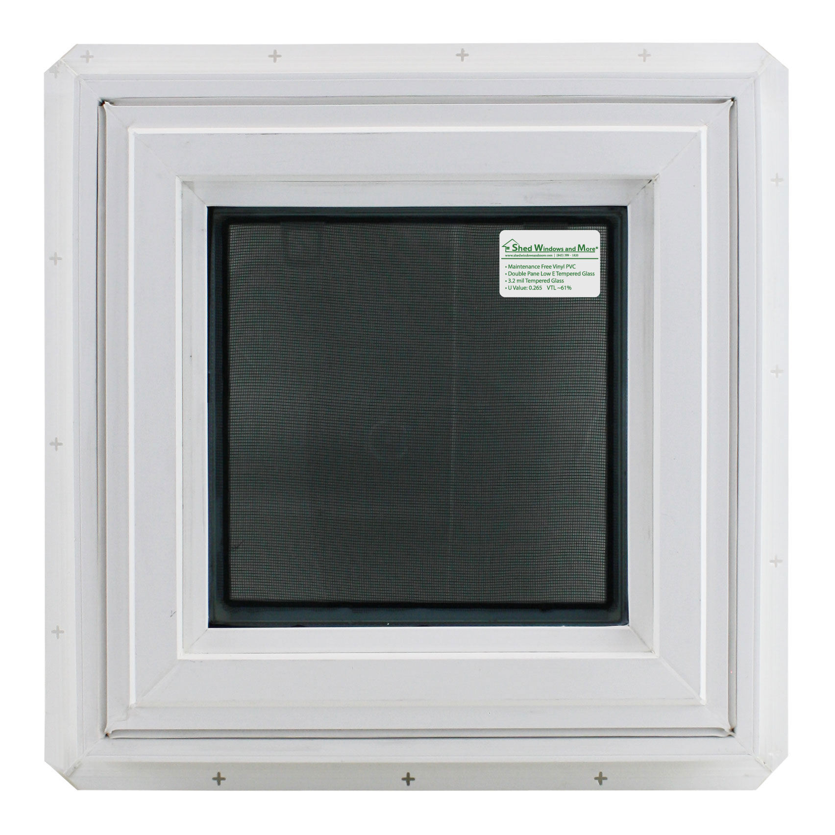 "Double Pane Awning Window 17/"" x 17/"" TEMPERED GLASS Window Venting Bathroom"