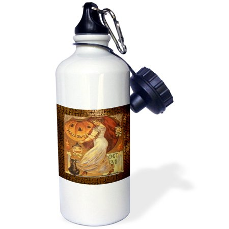 3dRose Vintage Halloween Lady holding Jack o Lantern, Sports Water Bottle, - Halloween Milk Bottle Lanterns