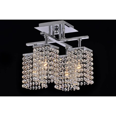 The Lighting Store 4-light Chrome and Crystal Ceiling