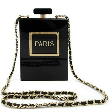 Fancyleo 1 Pc Transparent Perfume Bottle Box Acrylic Bag Women Cross Body Shoulder Chain Bag Wallet Pouch Handbag for Camping Acrylic Purse Base