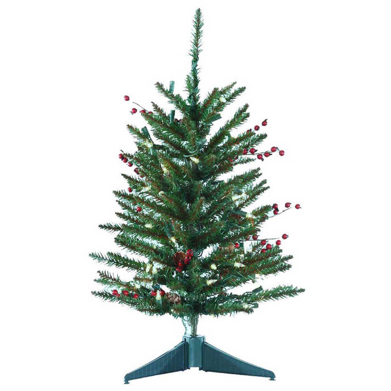 Kurt Adler Pre-Lit 2' Green Berries and Pinecone Artificial Christmas Tree with 50 Clear Lights