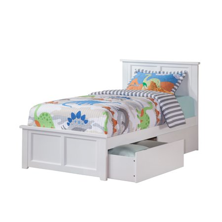 Madison Twin Xl Platform Bed With Matching Foot Board 2 Urban Drawers In White