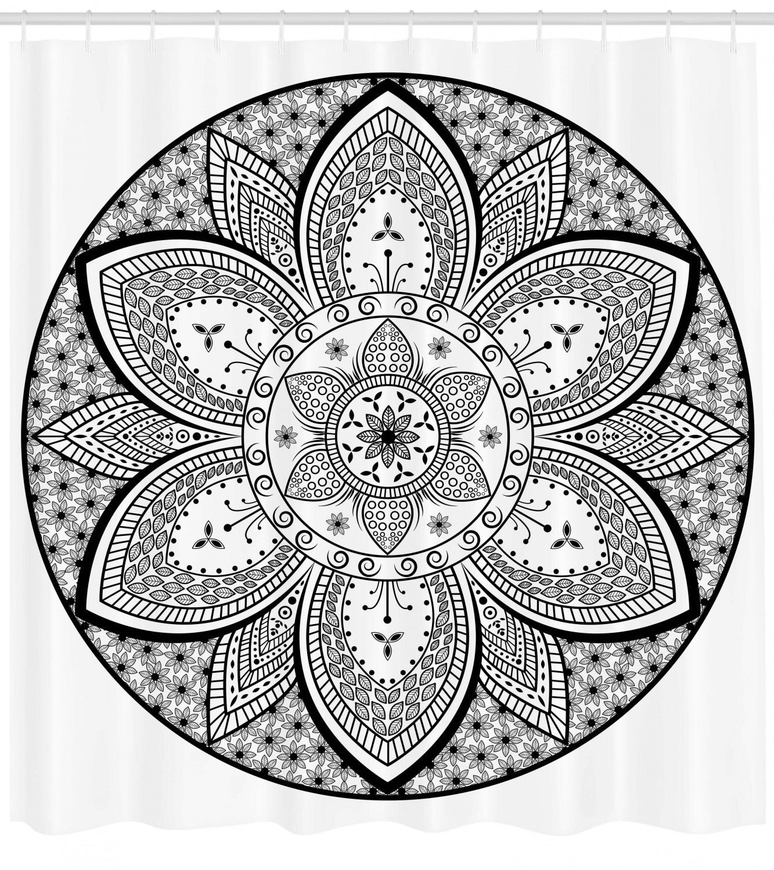 Ethnic Shower Curtain Mandala Ethnic Tribal Design Leaves Flowers Ivy Swirls Dots Artwork Image Print Fabric Bathroom Set With Hooks Black And White By Ambesonne Walmart Com Walmart Com