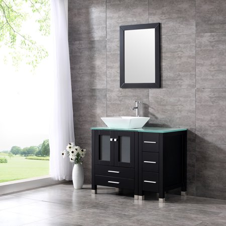 "36"" Modern Ceramic Vessel Sink Bowl Wood Bathroom Vanity Cabinet w/Mirror Faucet"