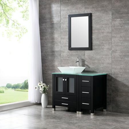 36 Quot Modern Ceramic Vessel Sink Bowl Wood Bathroom Vanity