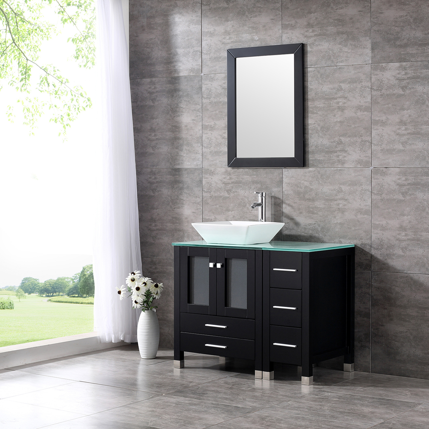 36  Modern Ceramic Vessel Sink Bowl Wood Bathroom Vanity Cabinet w/Mirror Faucet & 36