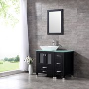 36 Modern Ceramic Vessel Sink Bowl Wood Bathroom Vanity Cabinet W Mirror Faucet