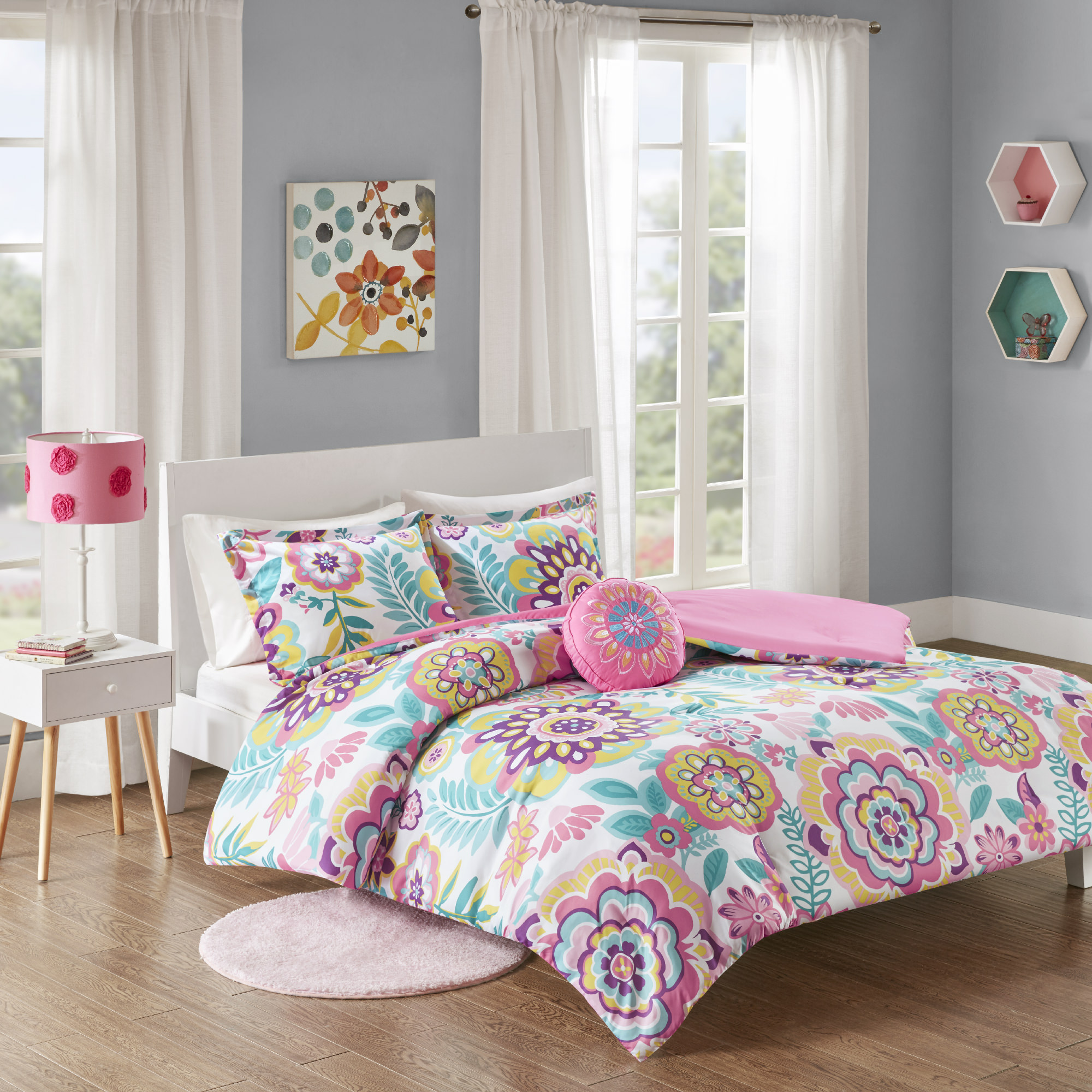 Home Essence Teen Cora Super Soft Floral Comforter Set