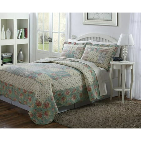 Legacy Decor 3 PCS Quilt Bedspread Blanket Cover Light Blue, Taupe and Pale Yellow, Patchwork Floral Design Queen