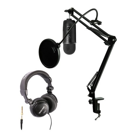Blue Microphones Blackout Yeti Mic w/ Knox Desktop Arm, Pop Filter &