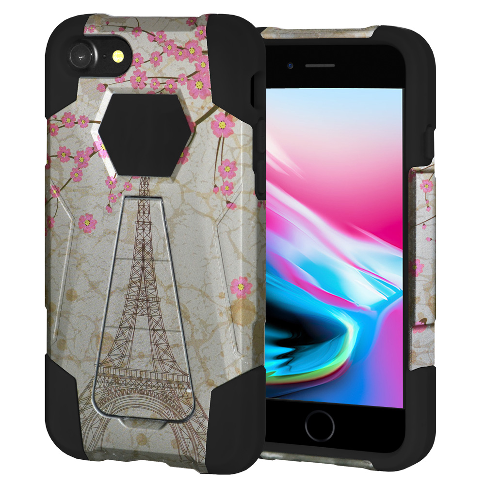 iPhone 8 Case, Premium Designer Slim Fit Dual Layer Case ShockProof Back Cover with Kickstand for Apple iPhone 8 - White Vintage Eiffel Tower Paris Sakura Floral