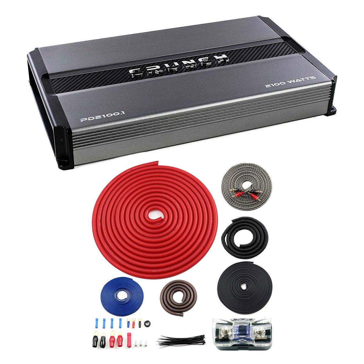 Crunch Power Drive 2100W Mono Class A/B Car Audio Amplifier + 4 Gauge Wiring Kit