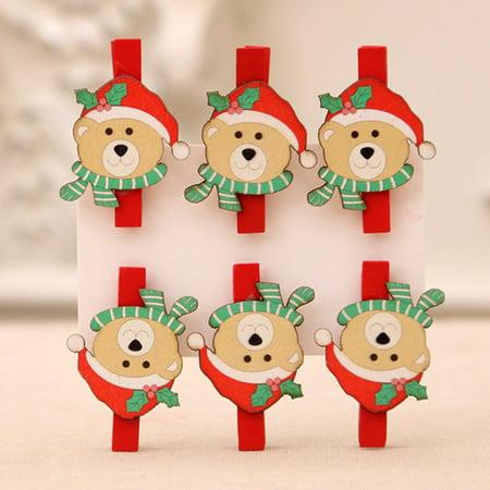 6Pcs\/Set Christmas Santa Claus Snowman Bear Elk Wooden Photo Clothespin Craft Clips Diy Christmas Ornaments ()