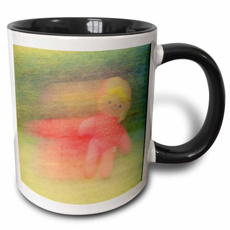 3dRose Pink Girl Doll With Blonde Hair That Looks Like it is In Motion with Vibrant Colors - Two Tone Black Mug, - Girl Looks Like Alien