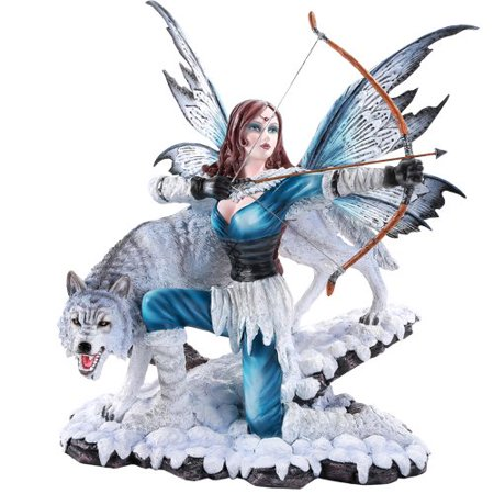 Large Winter Fairy Warrior with White Wolf Bow and Arrow Statue 18 Inch