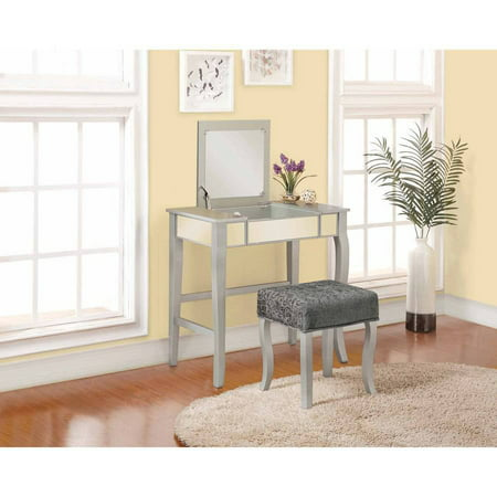 Linon Harper Vanity Set Including Mirror And Stool Silver