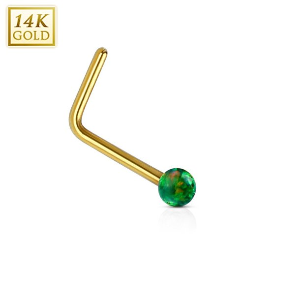 Body Accentz Nose Ring 20g 14kt Gold L Bend Nose Stud Ring With