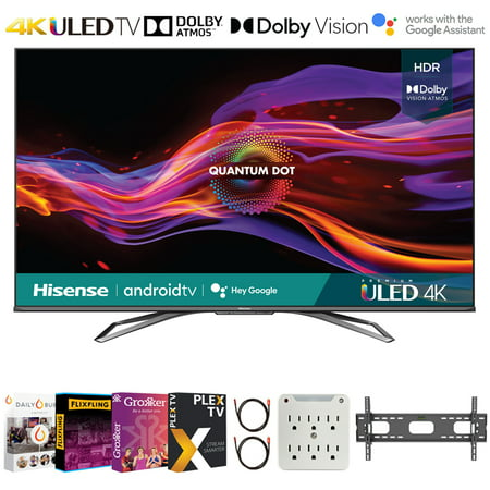 Hisense 55U8G 55 Inch U8G Series 4K ULED Quantum HDR Smart Android TV 2021 Bundle with Premiere Movies Streaming + 37-70 Inch TV Wall Mount + 6-Outlet Surge Adapter + 2x 6FT 4K HDMI 2.0 Cable