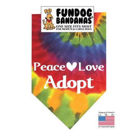 Fun Dog Bandana - Peace Love Adopt - One Size Fits Most for Med to Lg Dogs, tie dye pet (Tie Bandana Dog)