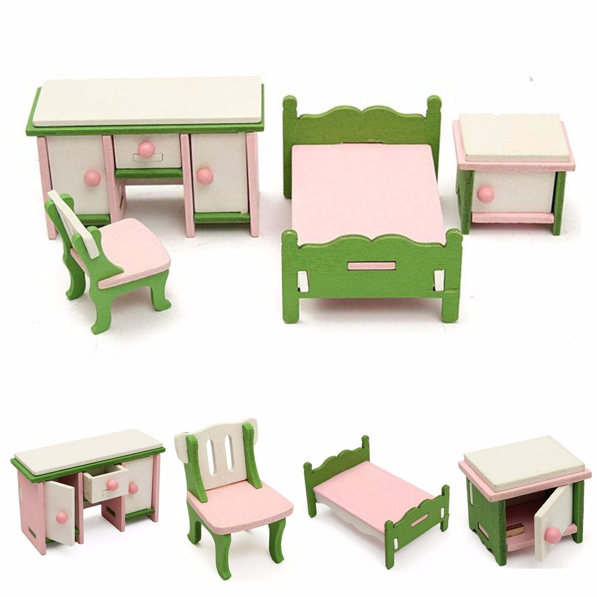 Kids Pretend Role Play Wooden Toy Dollhouse Bedroom Set Miniature Furniture