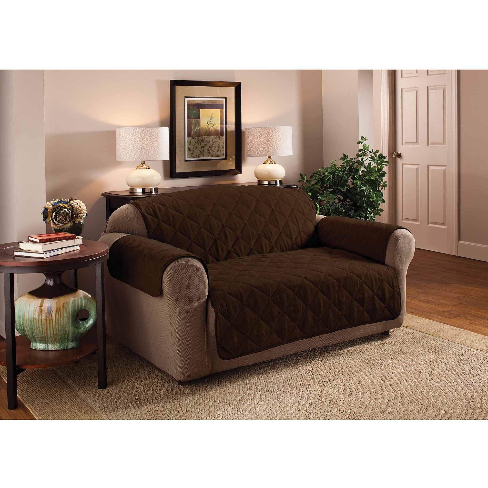 Mainstays Reversible Microfiber 3 Piece Loveseat Furniture Cover Protector    Walmart.com