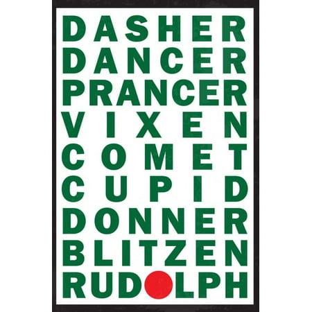 Reindeer Names Print Wall Art - Raindeer Names