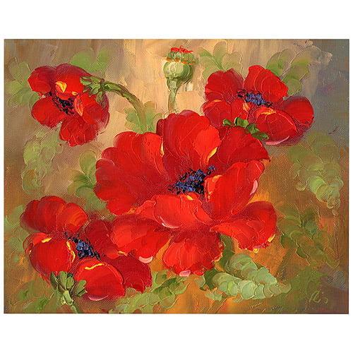 "Trademark Fine Art ""Poppies"" Canvas Art by Rio, 26x32"