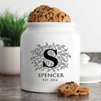 Floral Initial Personalized Cookie Jar