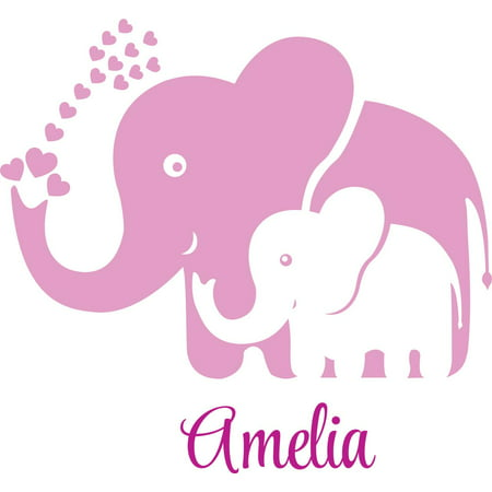 Personalized Name Vinyl Decal Sticker Custom Initial Wall Art Personalization Decor Childrens Girl Bedroom Baby Nursery Room Elephants Pink 16 Inches X 16 Inches