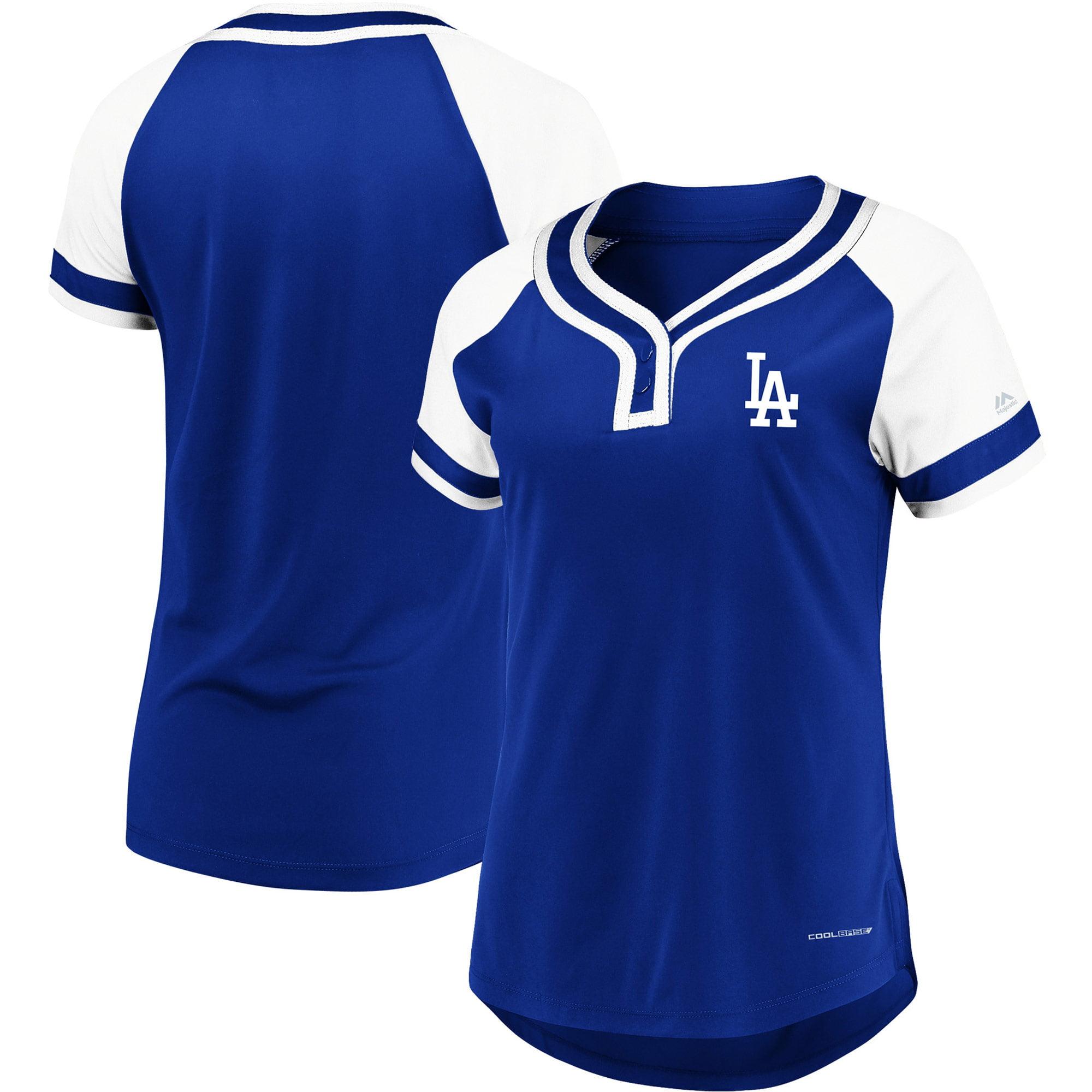 Los Angeles Dodgers Majestic Women's Plus Size League Cool Base T-Shirt Royal White by Profile