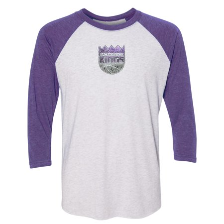 Sacramento Kings Women's Rhinestone Raglan 3/4-Sleeve T-Shirt - White - Sacramento Costume Shops