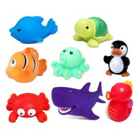 Dollibu Bath Buddies Ocean Critters Rubber Squirter Toys - Crab, Dolphin, Fish, Turtle, Shark, Octopus, Sea Horse, Penguin - 3 inch - For Baths, Pool, Outdoor - Baby Bathtime Learning (8pc Set)