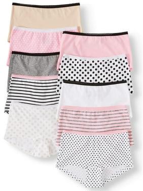 Wonder Nation Girls Underwear, 10 Pack 100% Cotton Boyshort Panties (Little Girls & Big Girls)