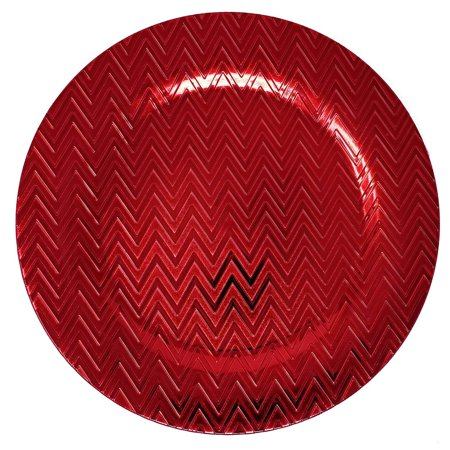 Lovely Christmas Dinnerware Formal 13-Inch Zig Zag Chevron Self Print Red Round Charger Plate Wedding Receptions Anniversary Dinners Modern Plates-Thanksgiving, Holiday,Party,Event,Restaurant (1)