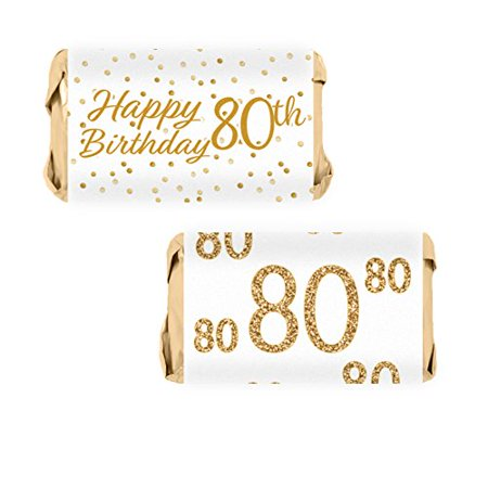 White and Gold 80th Birthday Party Mini Candy Bar Wrapper Stickers, 54 - Party City Stickers