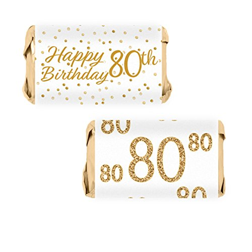 White and Gold 80th Birthday Party Mini Candy Bar Wrapper Stickers, 54 Count