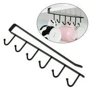 EEEkit Kitchen Storage Rack Cupboard Hook Hanger Chest Organizer Mug Holder, 6 Hooks, White/ Black
