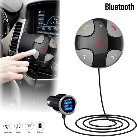 Handsfree Wireless Bluetooth 4.2 FM Transmitter Car Kit Mp3 Player with Dual USB Charger, Radio Adapter, Hands-Free Calling, Audio Receiver, Support TF