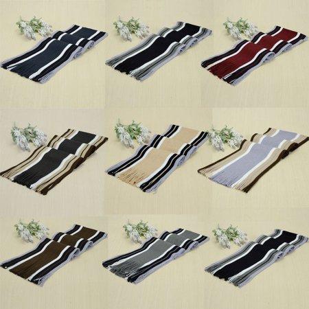 Women Men Classic Cashmere Shawl Winter Warm Fringe Stripe Tassel Long Soft Scarf Birthdady (Classic Striped Scarf)