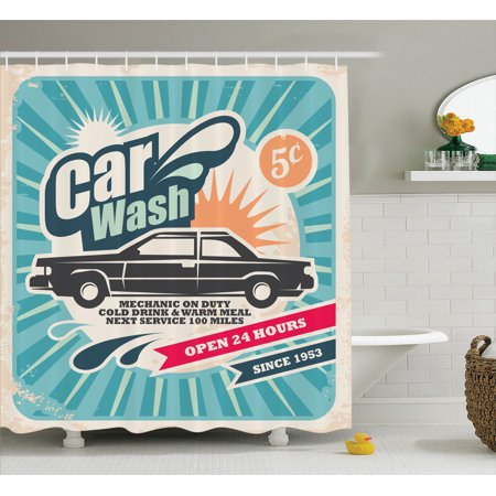 1950S Decor Shower Curtain Set, Retro Car Wash Auto Service Repair Poster Style Art In Vintage Color Classic Design Print, Bathroom Accessories, 69W X 70L Inches, By Ambesonne