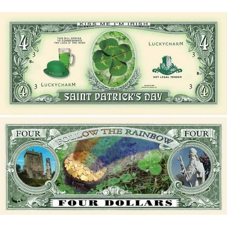 "- Saint Patrick Four Dollar Bill with Bonus ""Thanks a Million"" Gift Card Set and Clear Protector"