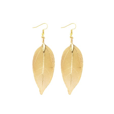 Wrapables® Gold Plated Lightweight Filigree Long Leaf Earrings Gold Filigree Leaf