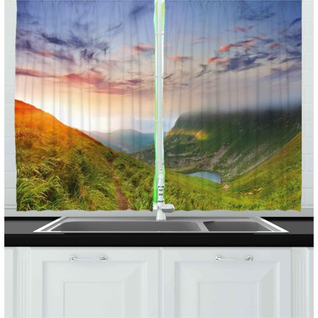 Mountain Curtains 2 Panels Set, Majestic Sunrise in Hills Mottled Clouds Fresh Grass Serenity Morning Mist, Window Drapes for Living Room Bedroom, 55W X 39L Inches, Blue Green Orange, by Ambesonne
