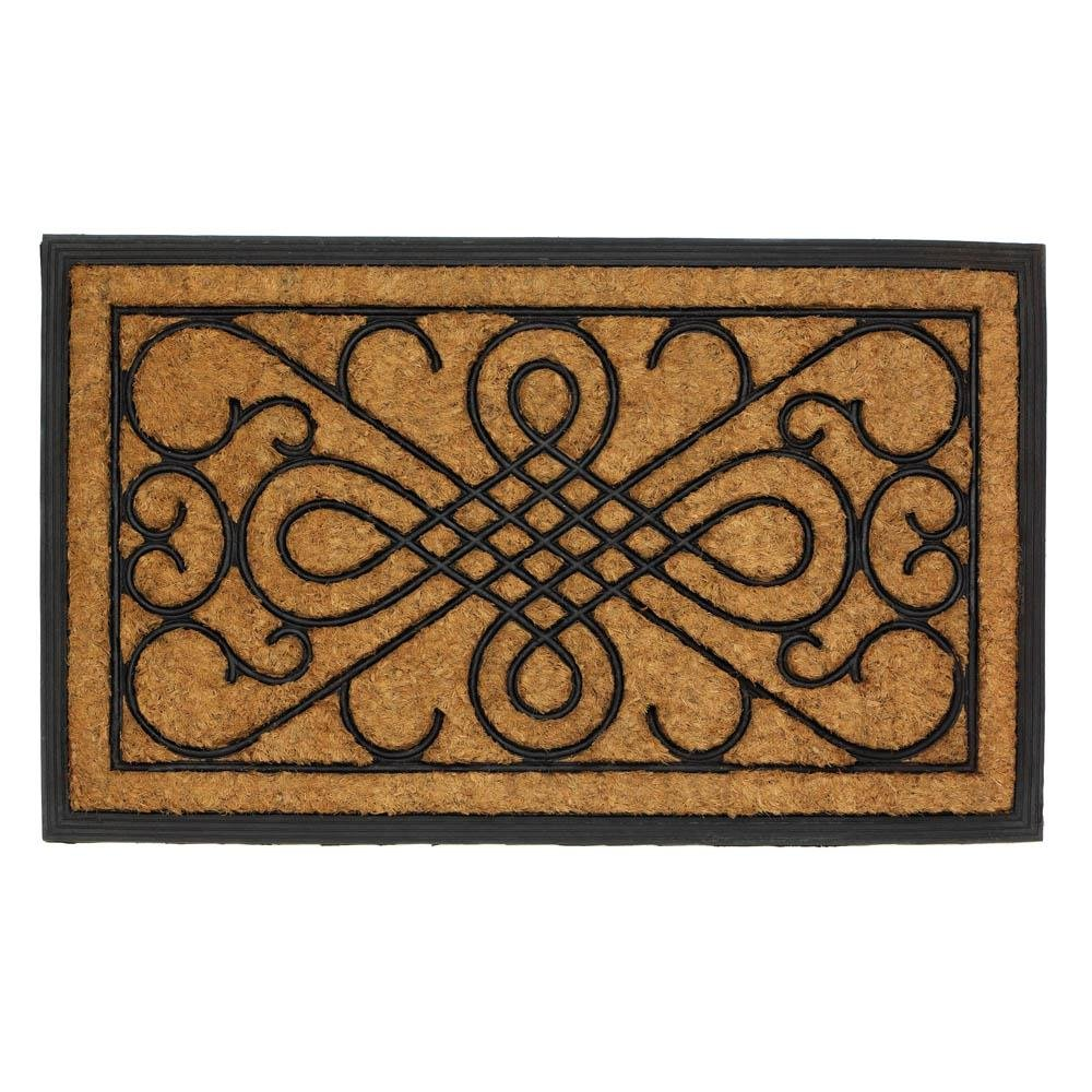 Outside Doormat, Scrollwork Design Coir Outdoor Decorative 18x30 Welcome Mat