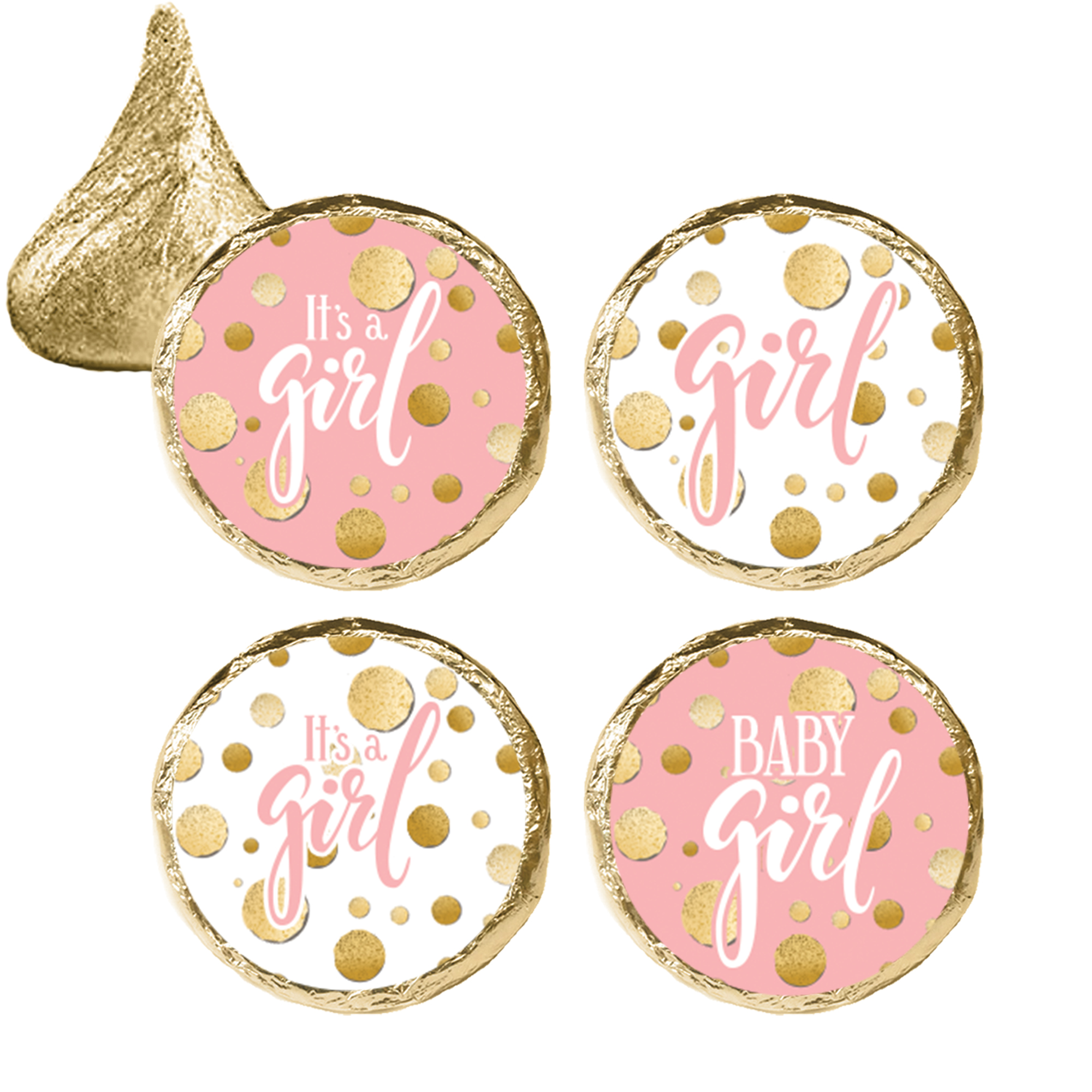 Pink Gold Girl Baby Shower Stickers 324ct - Pink and Gold Its a Girl Baby Shower Decorations Candy Favors - 324 Count Stickers