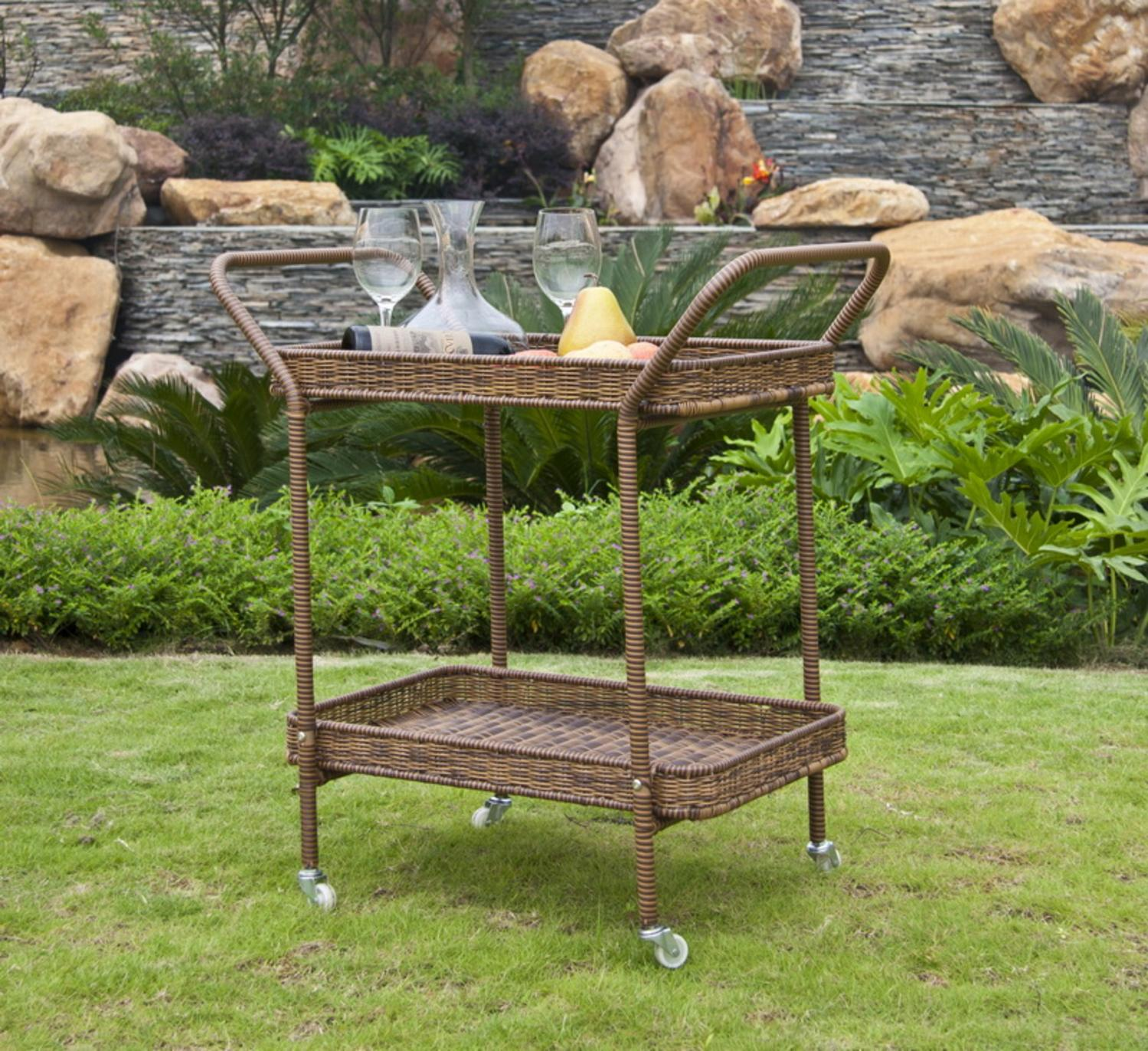 "32"" Honey Brown Resin Wicker Outdoor Patio Garden Serving Cart with Wheels by CC Outdoor Living"