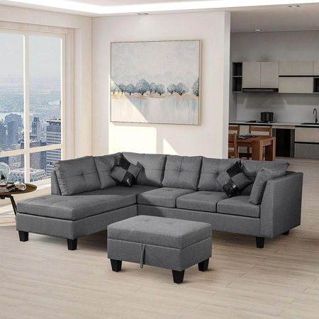Modular Sectional Sofa Assemble 3-Piece Modular Sectional Sofas Bundle Set Cushions, Easy to Assemble Left & Right Arm Chair,Armless Chair, Corner Chair,Corner Sofa (3 Piece Right Arm)