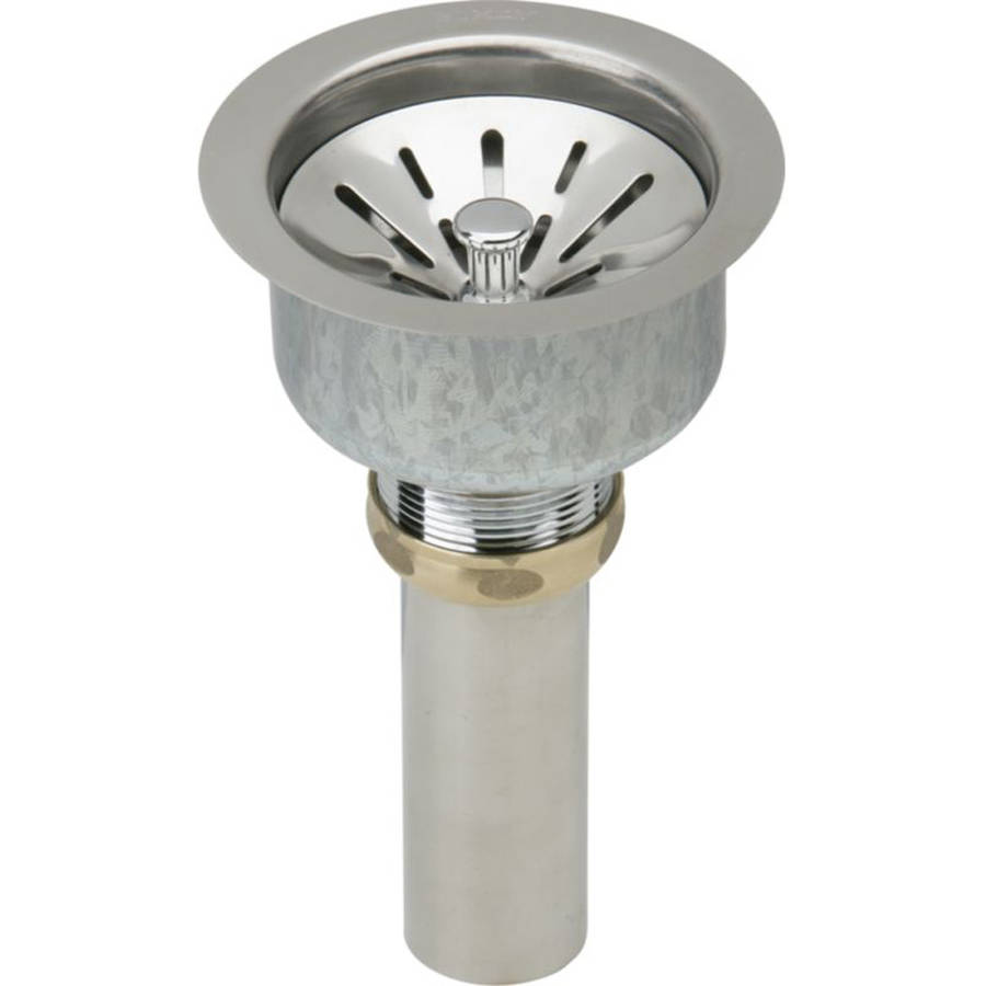 Elkay LK99 Deluxe 3-1/2 in. Drain Type 304  Strainer Basket Rubber Seal and Tailpiece (Stainless Steel)