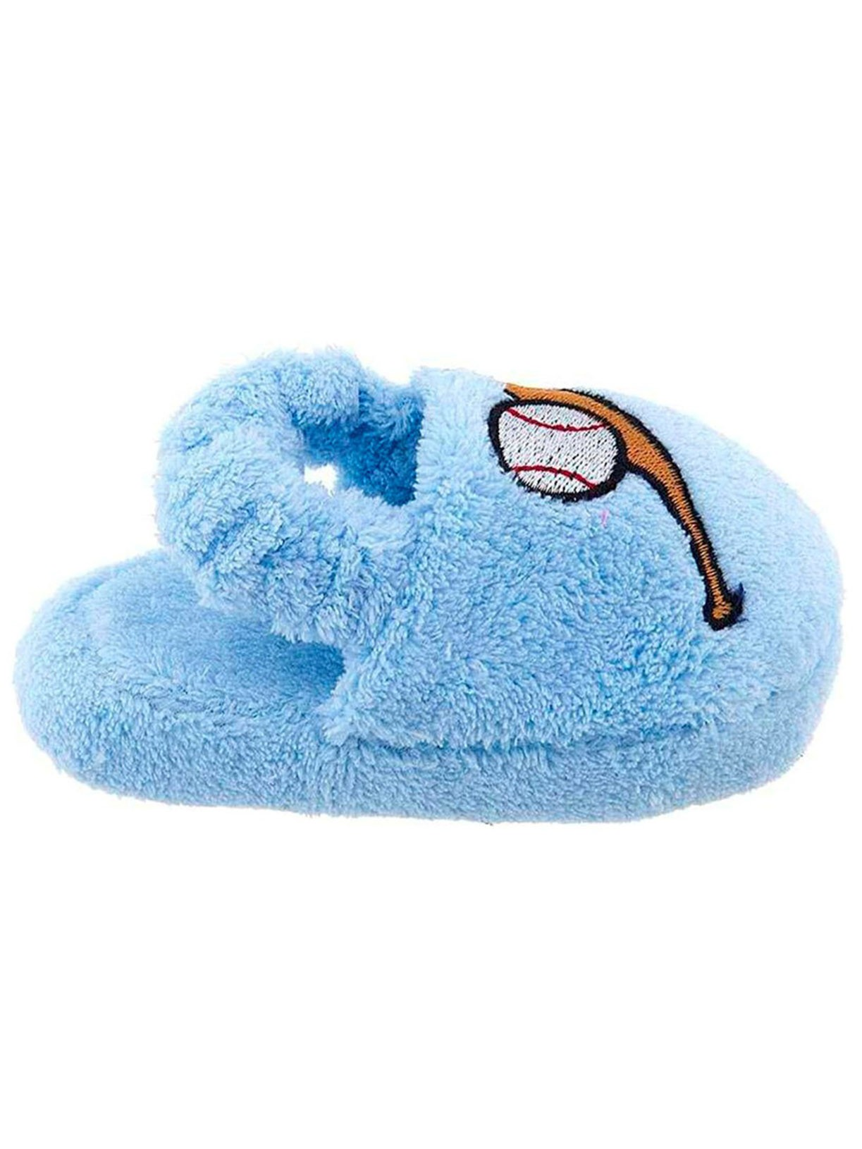 Light Blue Baseball Little Boys Slippers